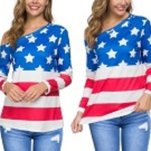 Leo Rosi American Flag Off The Shoulder Shirt